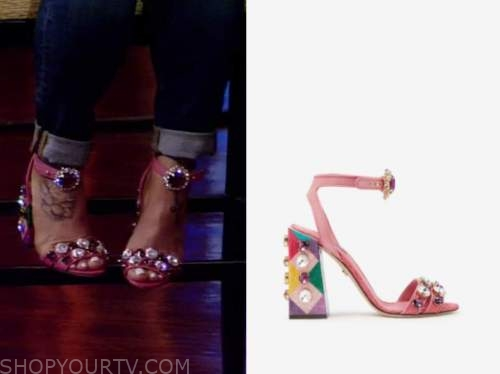 theresa caputo, pink jewel sandal heels, live with kelly and ryan