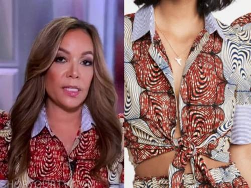 sunny hostin, the view, blue and red mixed print puff sleeve top