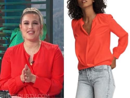 carissa culiner, E! news, daily pop, red silk blouse