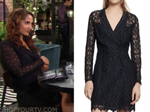lily winters ashby, navy lace dress, the young and the restless, christel khalil