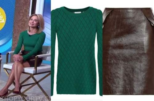 amy robach, good morning america, gma3, green sweater, brown leather skirt