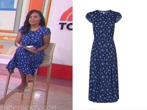 sheinelle jones, the today show, blue floral midi dress