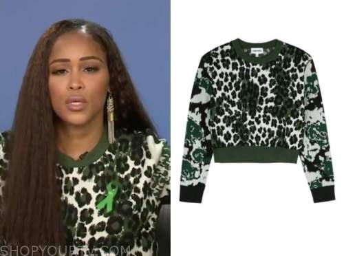 the talk, eve, green leopard sweater