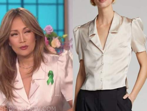 carrie ann inaba, the talk, ivory satin blouse