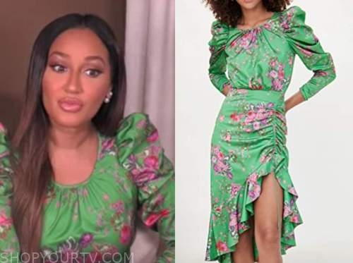 adrienne bailon, the real, green floral puff sleeve dress