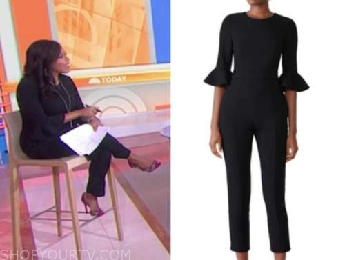 sheinelle jones, the today show, black bell sleeve jumpsuit