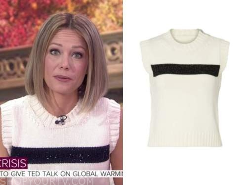 dylan dreyer, black and white sequin stripe sleeveless sweater, the today show