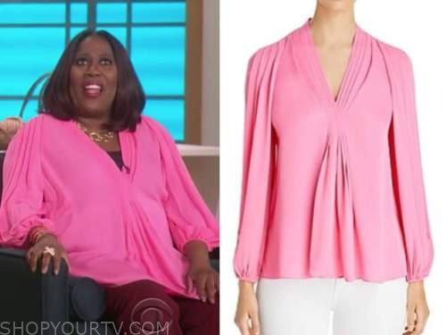 sheryl underwood, the talk, hot pink pleated silk blouse