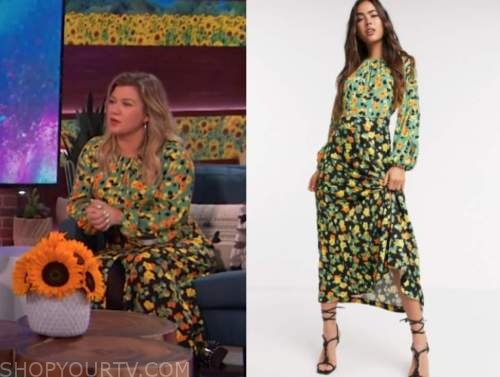 kelly clarkson, the kelly clarkson show, green and orange floral midi dress