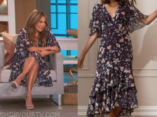 carrie ann inaba, the talk, navy blue floral flutter v-neck midi dress