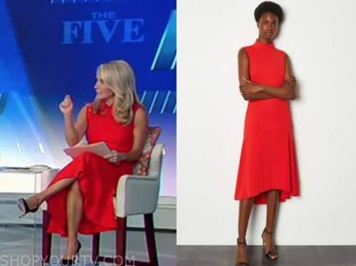 dana perino, red midi dress, the five