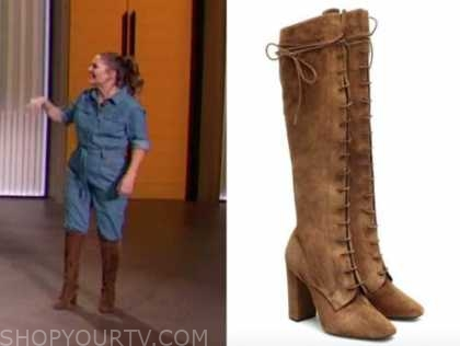 drew barrymore, drew barrymore show, brown suede lace-up knee high boots
