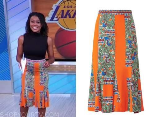 janai norman, orange floral skirt, good morning america