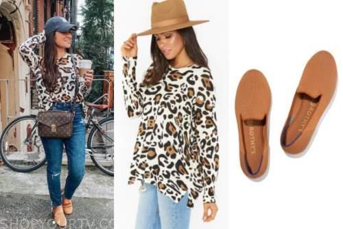 caila quinn, the bachelor, leopard sweater, camel ballet flats