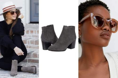 ashlee frazier, the bachelor, grey booties, brown sunglasses