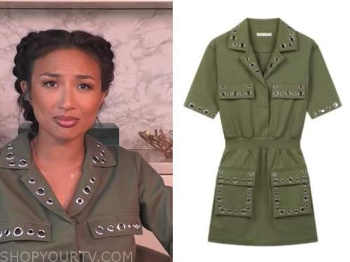 jeannie mai, the real, green grommet mini dress