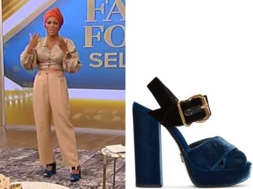 tamron hall, tamron hall show, blue suede platform sandals