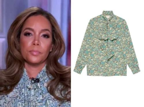 sunny hostin, the view, floral tie neck blouse