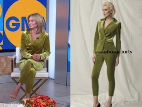 amy robach, green velvet pant suit, good morning america