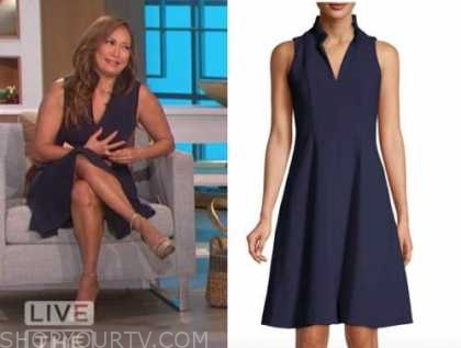 carrie ann inaba, the talk, navy blue stand collar dress