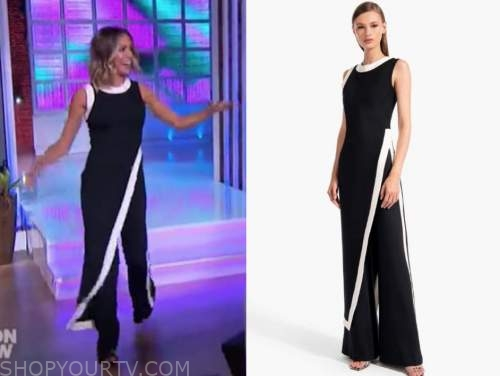 kristin cavallri, black and white asymmetric top and pants, the kelly clarkson show