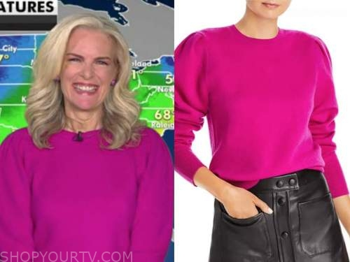 janice dean, fox and friends, hot pink puff sleeve sweater