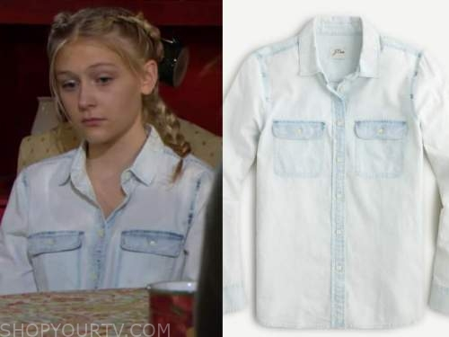 faith newman, chambray shirt, the young and the restless , alyvia alyn lind