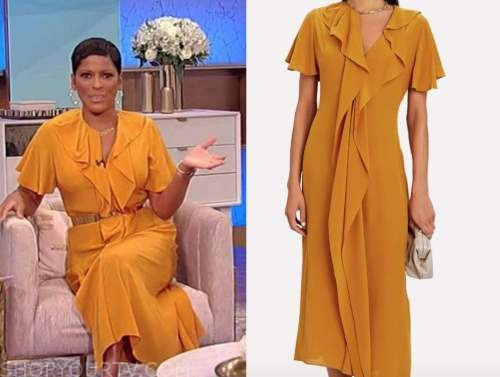 tamron hall, tamron hall show, orange silk ruffle midi dress