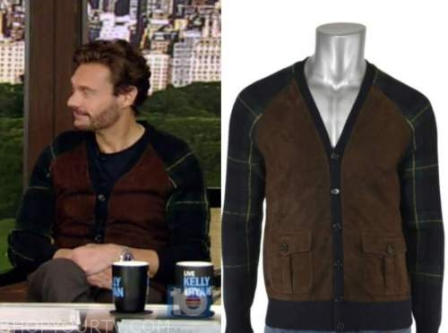 ryan seacrest, live with kelly and ryan, suede plaid cardigan sweater