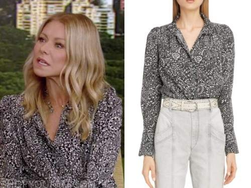 kelly ripa, live with kelly and ryan, black and white paisley print blouse