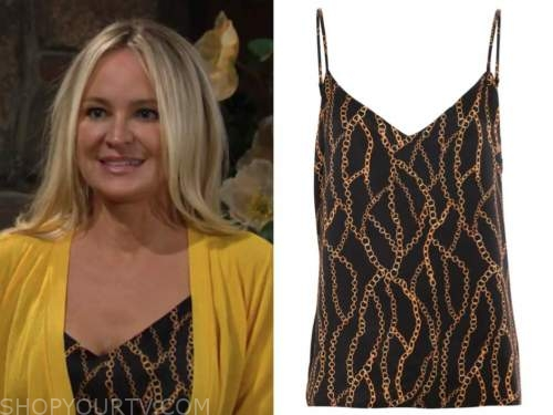 sharon newman, sharon case, the young and the restless, black chain print camisole top