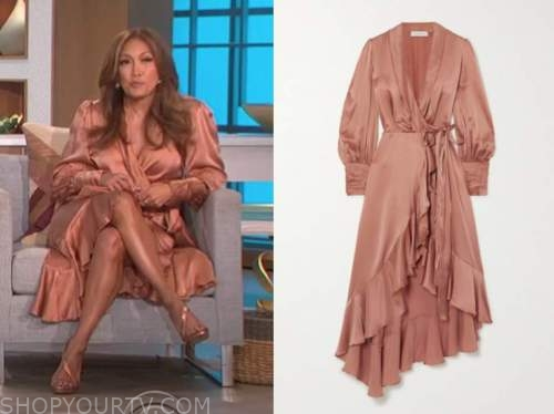 carrie ann inaba, the talk, tan satin wrap midi dress