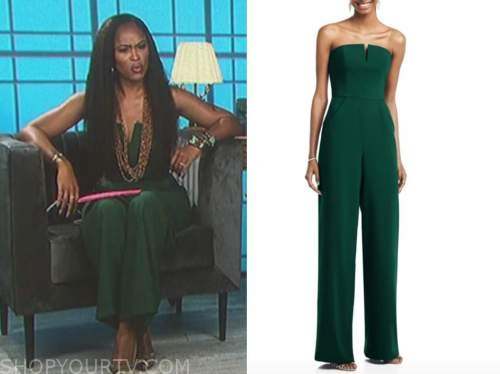eve, the talk, green strapless jumpsuit