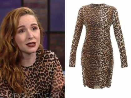 mariah copeland, camryn grimes, the young and the restless, leopard ruched dress
