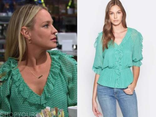 sharon newman, sharon case, the young and the restless, green ruffle puff sleeve top