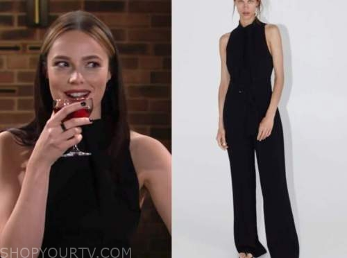 tessa porter, cait fairbanks, black jumpsuit, the young and the restless