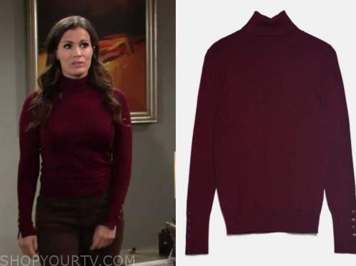 chelsea newman, melissa claire egan, the young and the restless, burgundy turtleneck