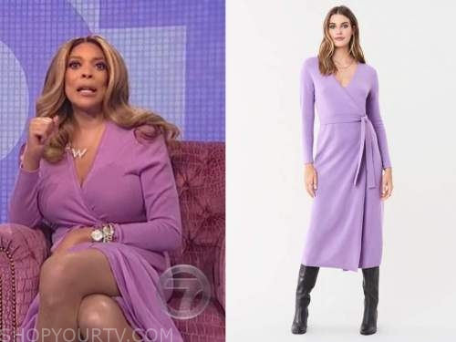 wendy williams, the wendy williams show, purple wrap knit midi dress