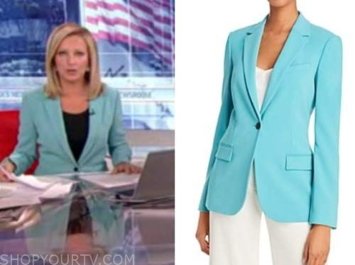 america's newsroom, sandra smith, turquoise blue blazer