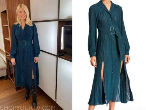 holly willoughby, this morning, teal midi dress