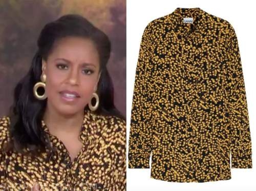 sheinelle jones, the today show, yellow and black printed blouse