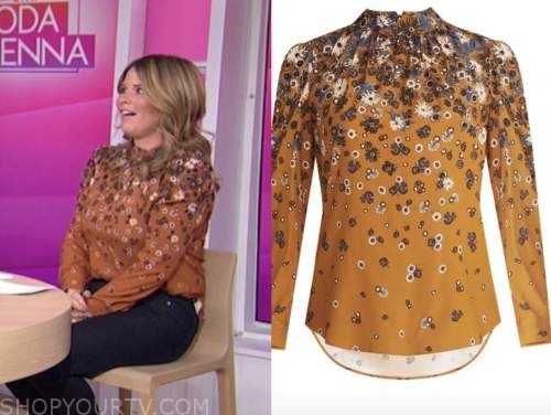 jenna bush hager, the today show, brown floral mock neck blouse