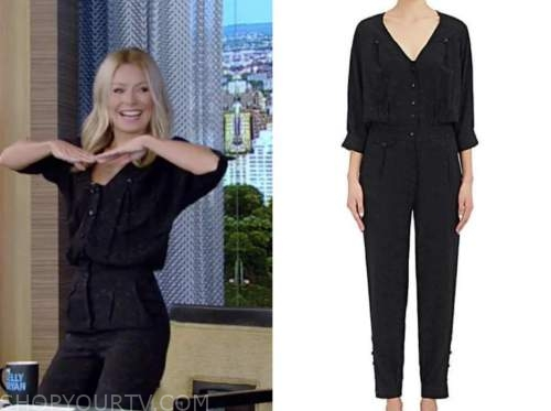 kelly ripa, jacquard jumpsuit, live with kelly and ryan
