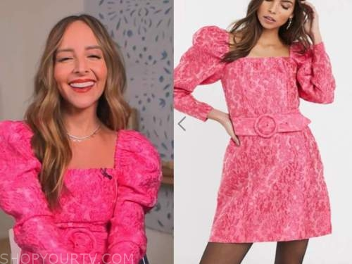 lilliana vazquez, pink jacquard belted mini dress, E! news, daily pop