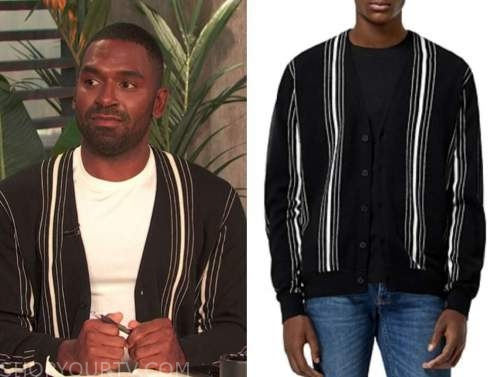 justin sylvester, black and white striped cardigan sweater, E! news, daily pop