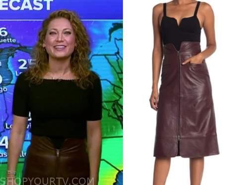 ginger zee, burgundy leather zip-front skirt, good morning america