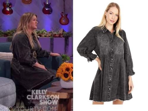 kelly clarkson, black denim shirt dress, the kelly clarkson show