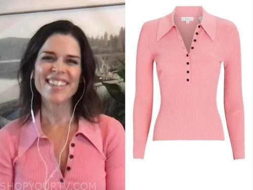 neve campbell, pink polo sweater, the talk