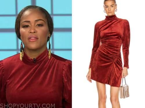 eve, the talk, red velvet mock neck dress