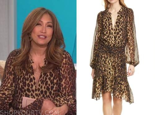 carrie ann inaba, the talk, leopard silk keyhole dress
